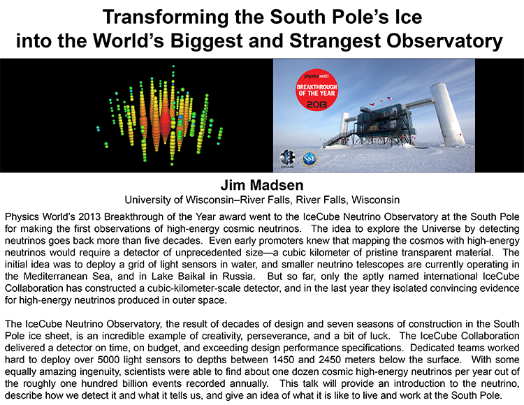 Plenary: TRANSFORMING THE SOUTH POLE'S ICE INTO THE WORLD'S BIGGEST AND STRANGEST OBSERVATORY