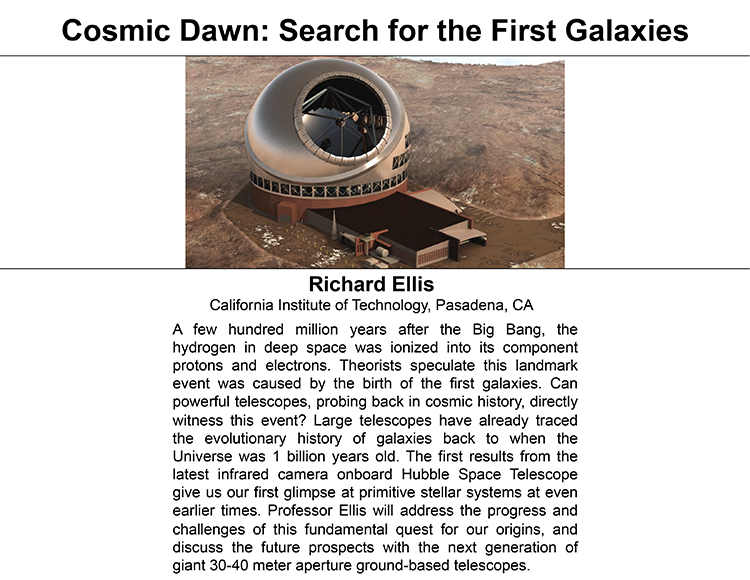 Plenary: COSMIC DAWN: SEARCH FOR THE FIRST GALAXIES