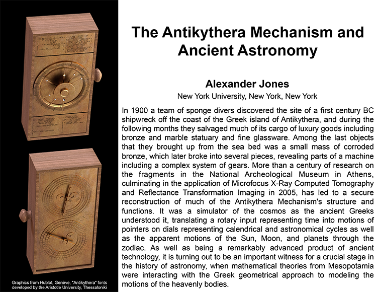 Plenary: THE ANTIKYTHERA MECHANISM AND ANCIENT ASTRONOMY